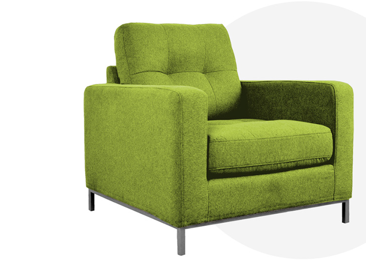 F3 lounge chair with green fabric